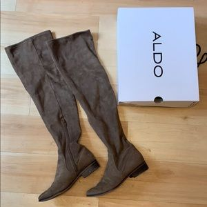 Taupe Faux Suede Over the Knee Boots